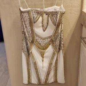 Embellished forever unique white mini dress sz 8